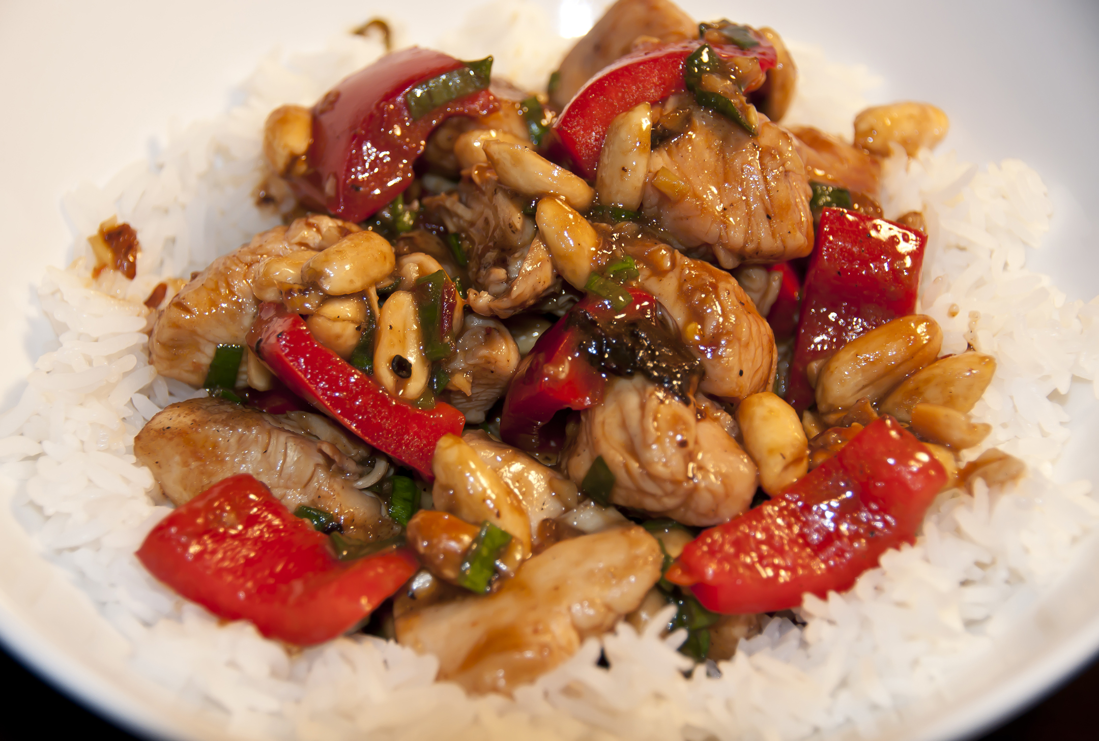 Kung Pao Chicken over Rice Close Up