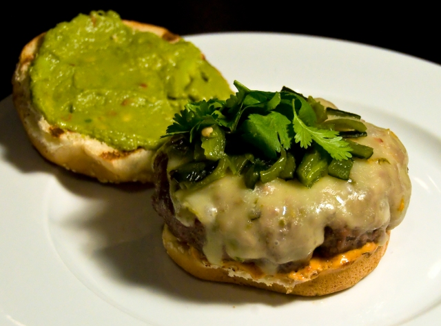 Burger with Pepper Jack, Chipotle Mayo, Roasted Poblanos ...