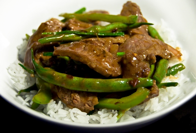 Hot Pepper Beef Stir Fry with Green Beans and Scapes (serves 2)