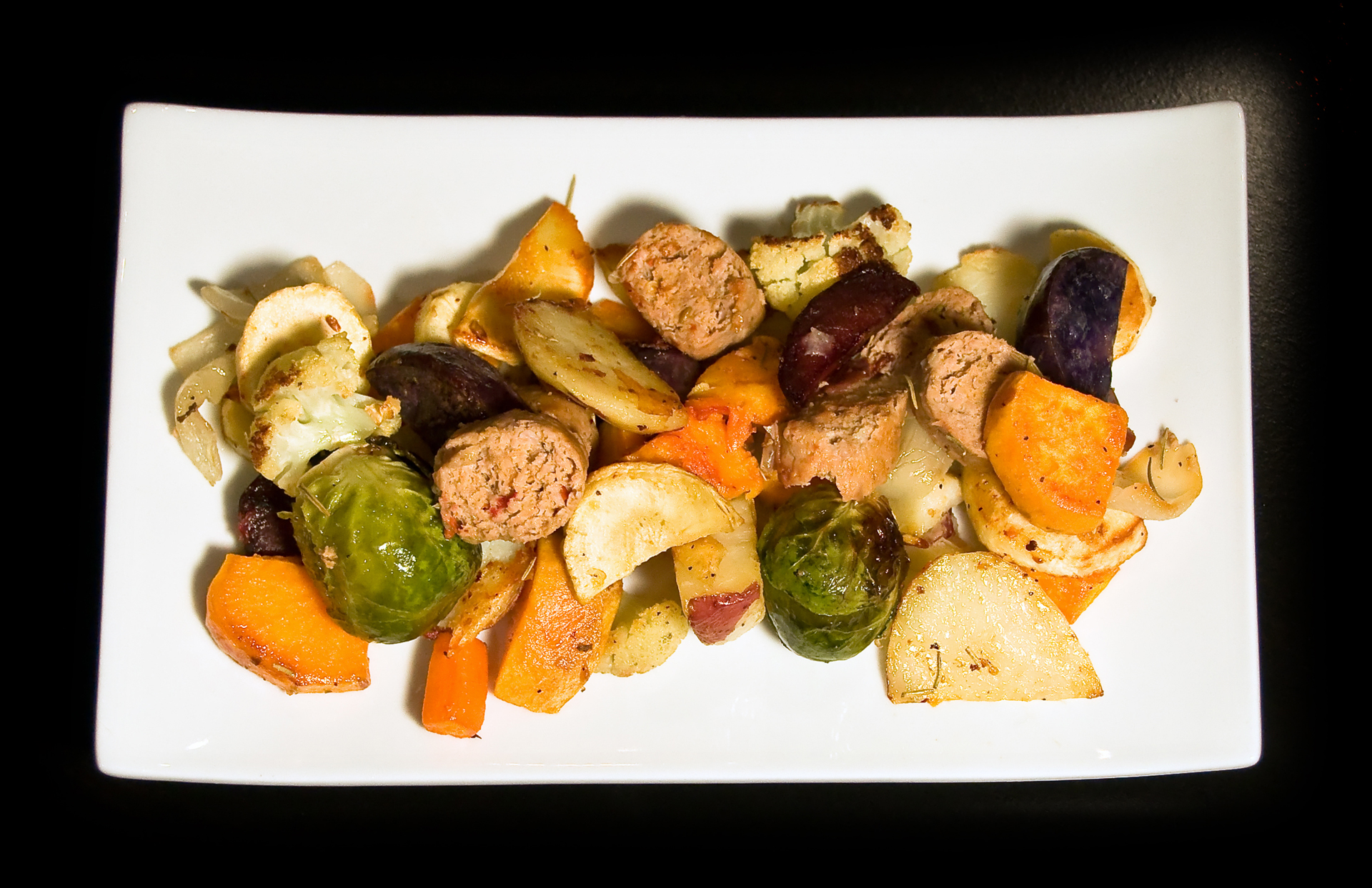 Roasted Root Vegetables with Turkey Sausage | The Little GSP