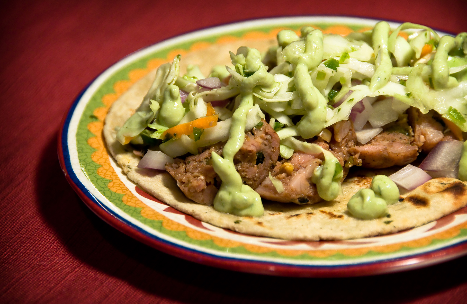 Poblano Sausage Tacos with Lime-Cilantro Slaw and Avocado Crema ...