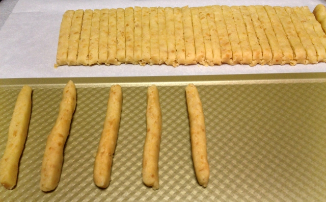 Slicing the dough into sticks