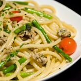 Bucatini with Sausage and Asparagus in a White WIne Sauce