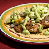 Poblano Sausage Tacos with Avocado Crema