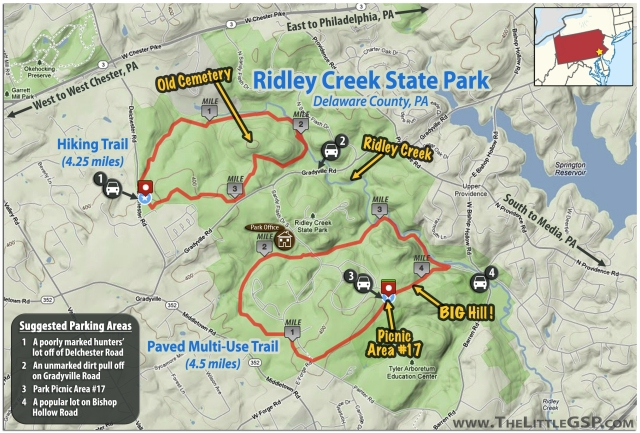 Ridley Creek State Park Map (TheLittleGSP.com)