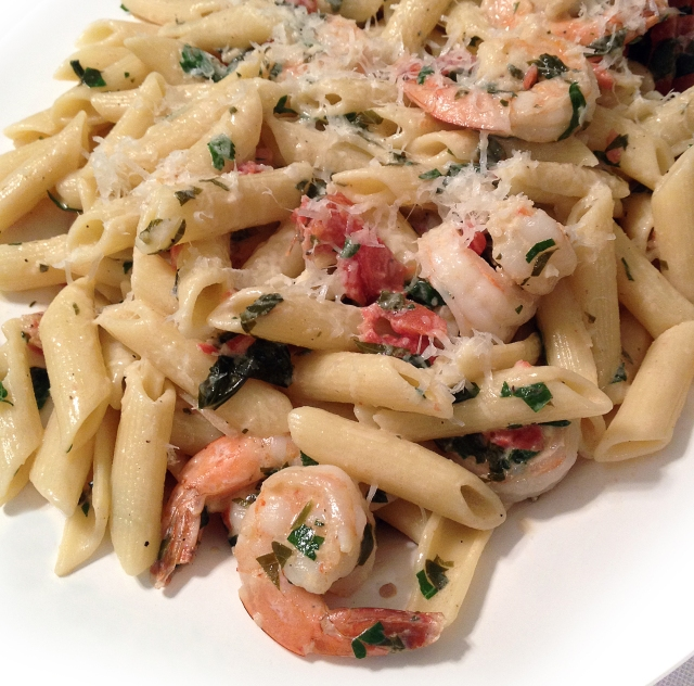 Shrimp and Penne in Herbed Cream Sauce (iPhone photo)