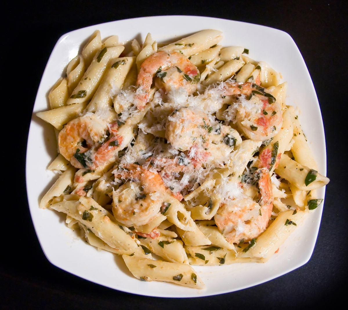Shrimp with Penne in Herbed Cream Sauce
