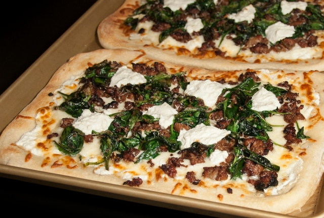 White Pizza with Sausage, Spinach and Ricotta_c
