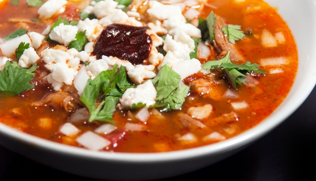 Pozole Rojo with Queso Fresco, Cilantro, and Pureed Ancho Chilis