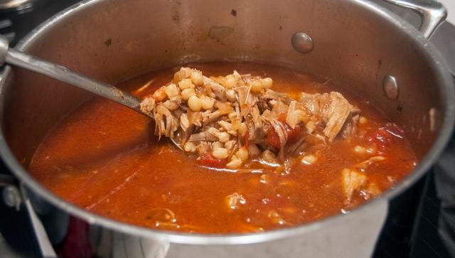Pozole Rojo in the pot