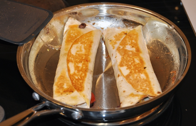 Pan-Frying the Burritos