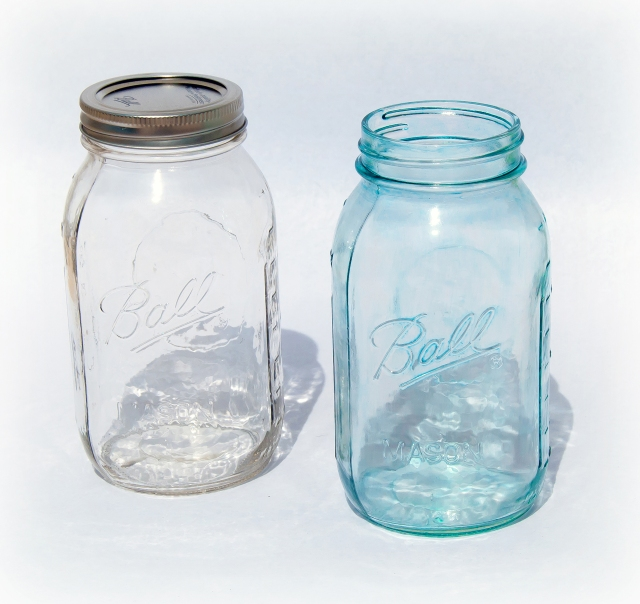 Clear and Blue Mason Jars