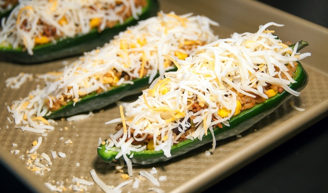 Stuffed Poblano Peppers before melting