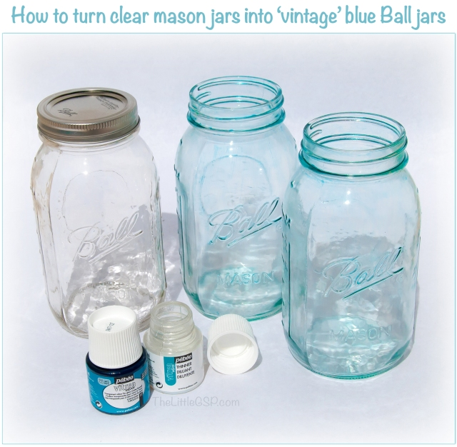 Turn clear mason jars into vintage blue ball jars