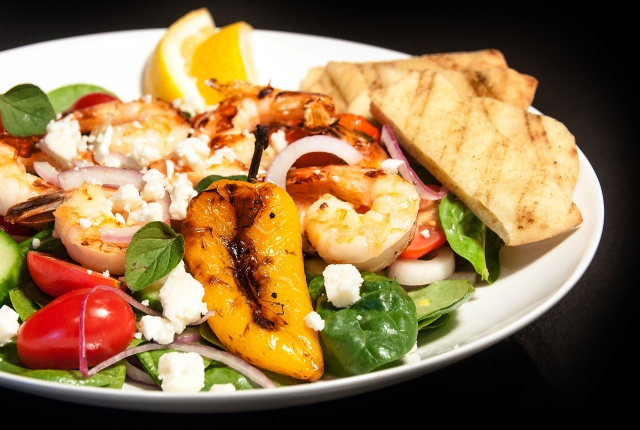 Grilled Shrimp and Bell Pepper Salad Close Up
