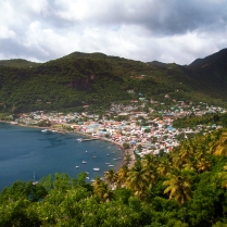The town of Soufriere, from the south