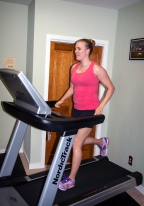 Working hard on the treadmill!