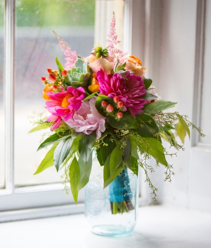 Wedding Bouquet - bright pink dahlias, pale garden roses and peach roses with a blue ribbon