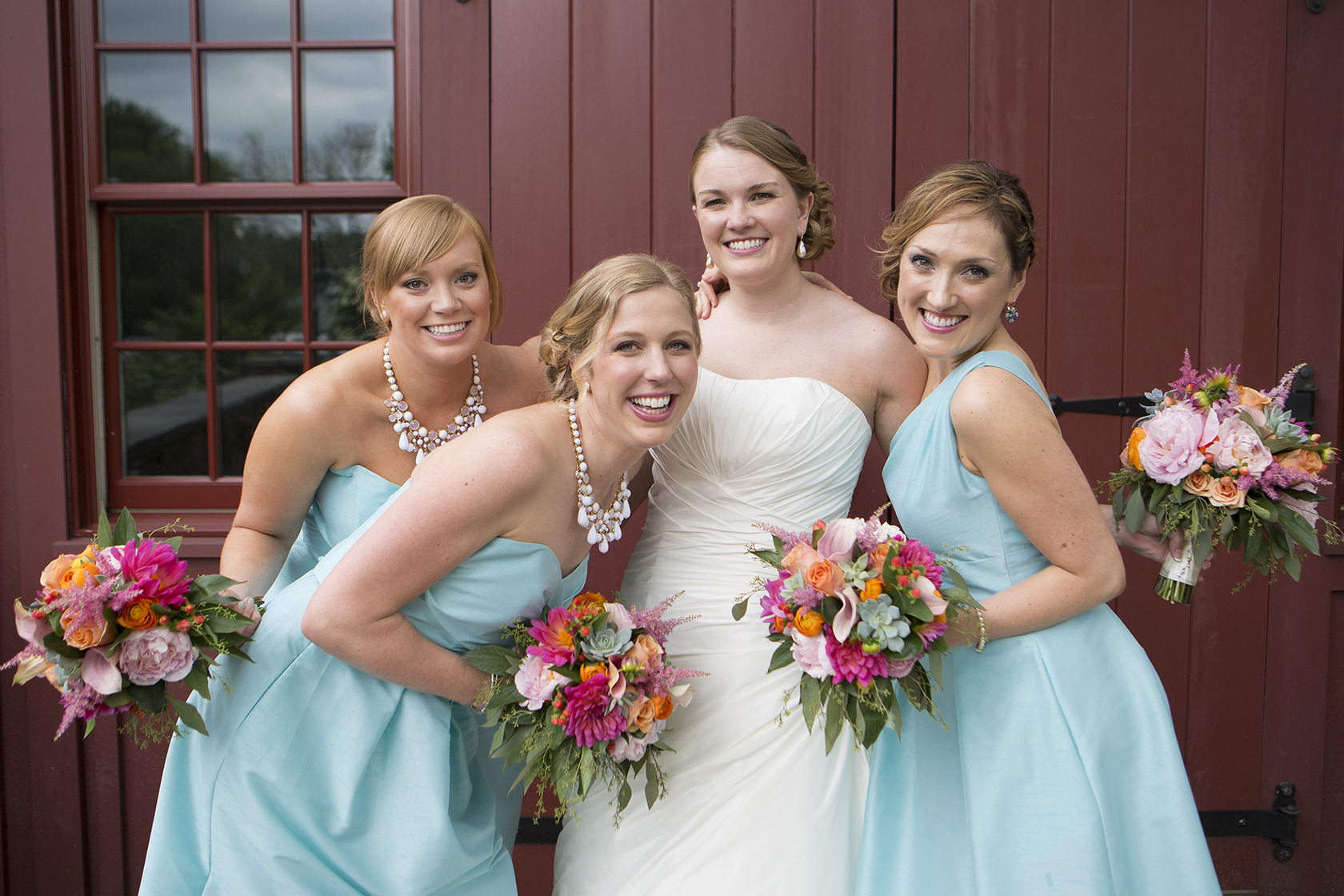 Wedding flowers the little gsp wedding bouquets pinks peaches succulents with aqua dresses izmirmasajfo