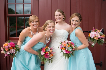 Wedding Bouquets - pinks, peaches, succulents with aqua dresses