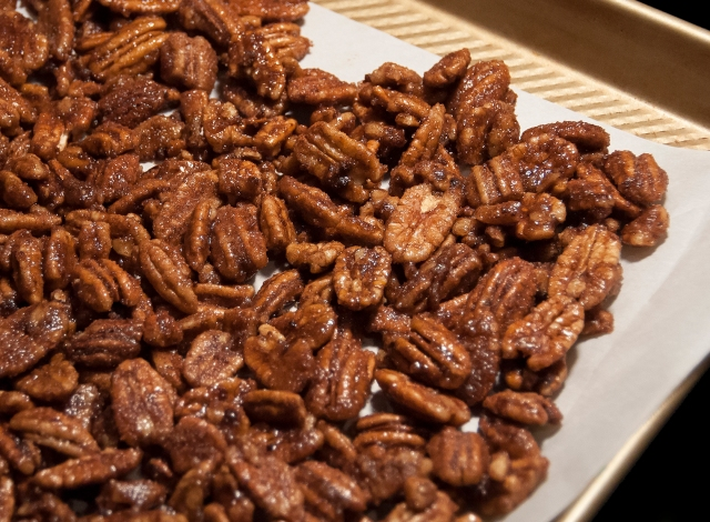 Candied Pecans before baking