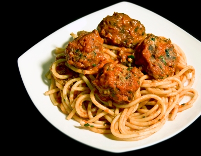 Bucatini with Homemade Meatballs
