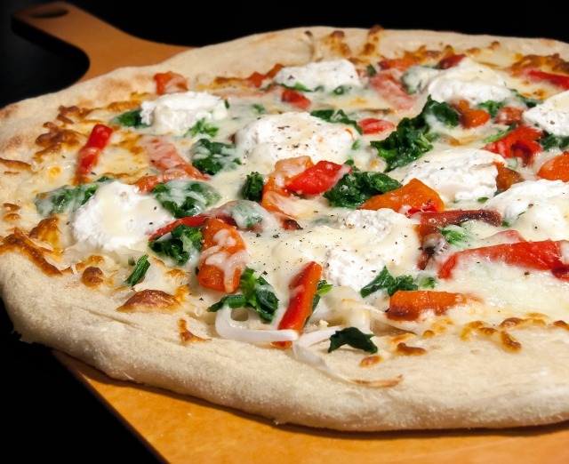 Ricotta Pizza with Spinach and Roasted Red Peppers 3