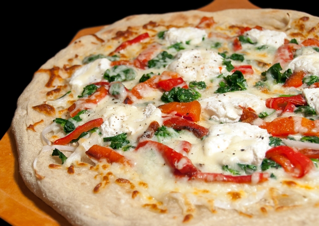 Ricotta Pizza with Spinach and Roasted Red Peppers