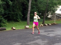Struggling to keep my balance down the hill into the finish.