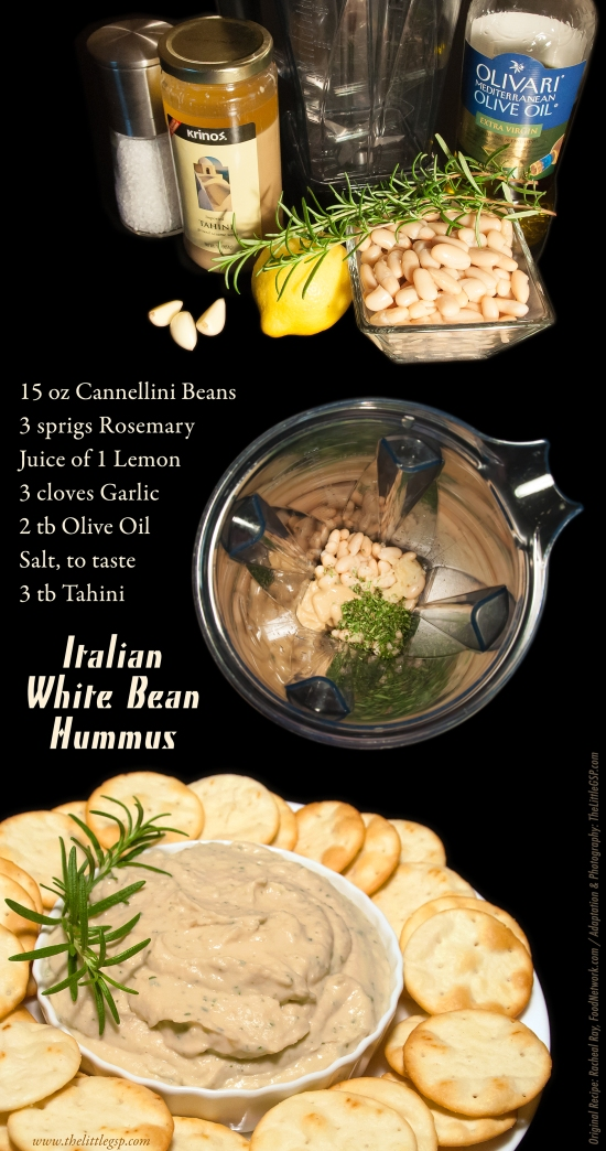 Italian White Bean Hummus with Rosemary, Garlic and Lemon.  Delicious and so easy to make!!