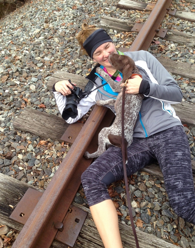 Surprise puppy attack on the tracks!