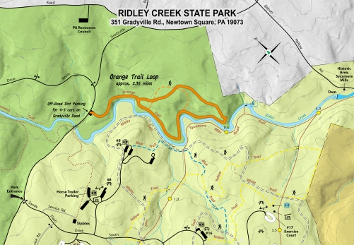 Oddly, the official DCNR map shows a shorter orange loop than what was marked in the woods, so I overlaid the outline of our actual hike on the above map.