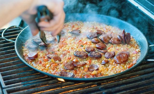 Adding the chorizo back into the rice