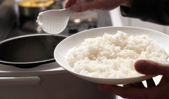 Make a bed of white rice...