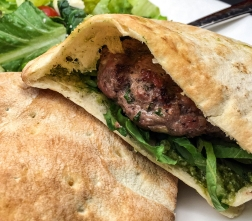 Sunday: Lamb burgers w/ feta-mint dressing