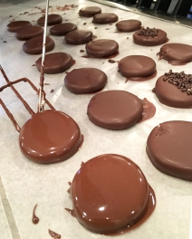 Peppermint Patties, fresh from the chocolate dipping station