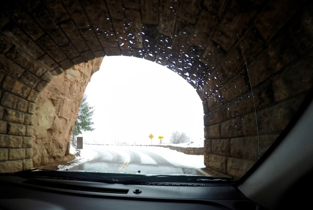 Exiting the tunnel at the top of the snowy mountain