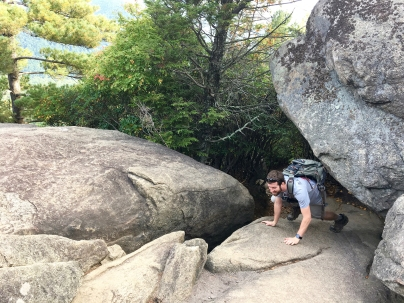 Scrambling up the rocks