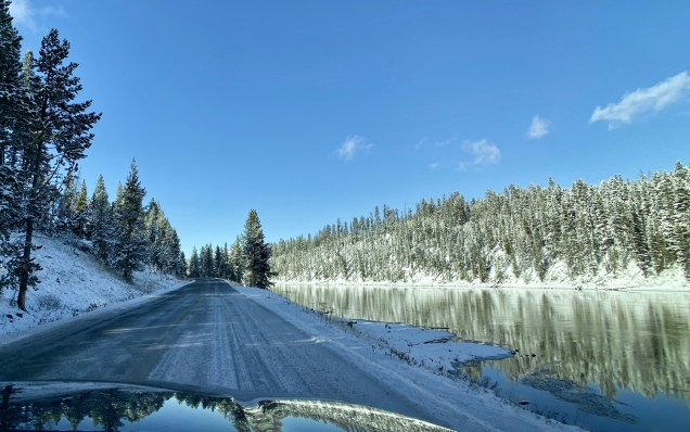 Snowy Road and Yellowstone River
