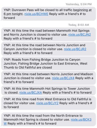 Yellowstone texts